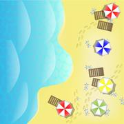 Illustration of beach from above with sea, parasols and beds Stock Illustration