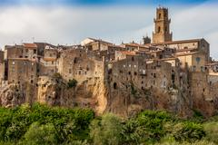 City on the clif in  Italy - stock photo