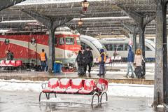 Stock Photo of Heavy Snowfall In Bucharest North Railway Station
