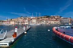 Panorama of Porto Azzurro on Elba Island, Italy Stock Photos