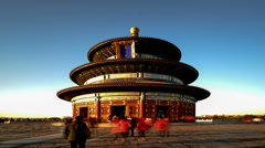 Close-up look of the Qinian Hall at sunset in the Temple of Heaven, Beijing Stock Footage
