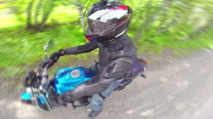 Motorcycle rider on a road, view from helmet - stock footage