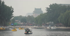 4K Gulou Zhonglou Drum Bell Tower looking over Houhai lake in Shichahai, Beijing Stock Footage