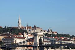 Budapest Chain bridge and Fisherman's bastion Stock Photos