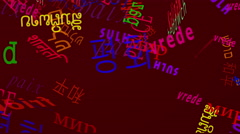 Falling Words: Peace in Many Languages - Red Back Stock Footage