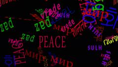 Falling Words: Peace In Many Languages - Black Back Stock Footage