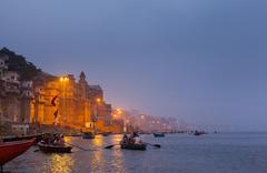 Dawn Rowing Boats on the Ganges at Varanasi Stock Photos