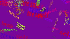 Stock Video Footage of Falling Words Sales: Lt Purple Back