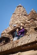 Tourists Using a Selfie Stick at Indian Temple Stock Photos