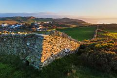 Stone Wall and Coastal View near Mortehoe in North Devon, England Stock Photos
