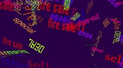 Falling Words Sales: Dk Purple Back Stock Footage