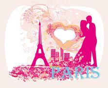 Romantic couple in Paris kissing near the Eiffel Tower Stock Illustration
