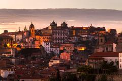 Stock Photo of Panorama old city Porto at sunset, Oporto, Portugal