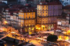 Panorama old city Porto at sunset, Oporto, Portugal Stock Photos