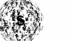 4k UHD currency symbols globe rotating 11600 Stock Footage