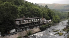 Scenic Hotel And Bridge - River - stock footage