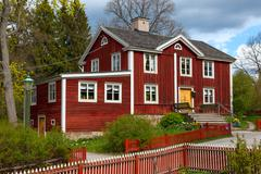 typical swedish  wooden house, stockholm - stock photo