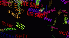 Stock Video Footage of Falling Words Sales: Black Back