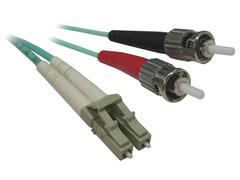 Aqua Fiber Optic Cable with ST to LC Connectors - stock photo