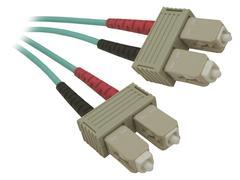 Aqua Fiber Optic Cable with SC Connectors - stock photo