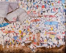 Thai mural painting art Stock Photos