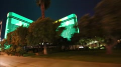 2 clip - driving shot Las Vegas strip driving shot of a glowing mgm hotel, Bally Stock Footage