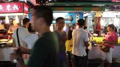 3 angles - Taiwan night market cooking seafood with alcohol Stock Footage