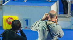 Photographers at dog show exhibition Stock Footage