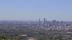 2 angles - Brisbane - Aerial Pan Of The Skyline and from river Stock Footage