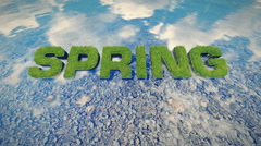 Spring text made from fresh grass among water stream Stock Footage