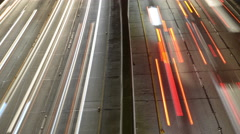 Time Lapse Pan - View of Traffic on Busy 10 Freeway in Downtown Los Angeles Stock Footage