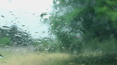 Raind drops on wind shield Stock Footage
