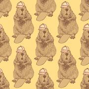 Sketch beaver hipster in vintage style Stock Illustration