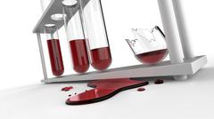 Puddle of blood and splinter of test tubes - stock illustration