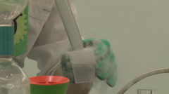 Chemistry laboratory glassware with liquid Stock Footage