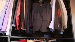 Dolly shot of men wardrobe Stock Footage