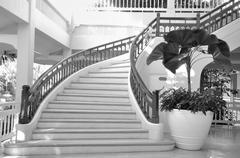 Beautiful and classic stairs with curve balustrade, monochrome Stock Photos