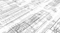 25fps-1080p-Construction Drawings-Perspective3-White - stock footage