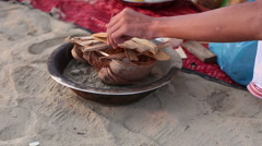 Brahmin makes ritual fire at Indian wedding ceremony Stock Footage