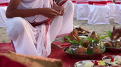 Brahmins prepareing place for Indian wedding ceremony Stock Footage