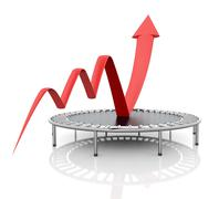 Business growth red graphic relaunched with a trampoline Stock Photos