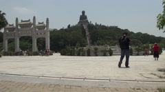 Tian Tan Buddha Ngong Ping Village Stock Footage