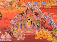 Buddhist temple mural painting (The life of Buddha) Stock Photos