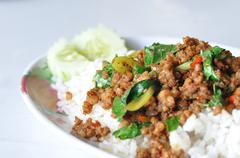 Fried Stir Basil with Minced pork Stock Photos