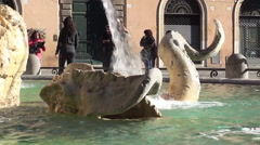 Dolphin. Fountain of the Four Rivers, Rome - stock footage
