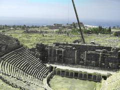 Ancient amphitheatre  in Hierapolis, Pamukkale, Turkey Stock Photos