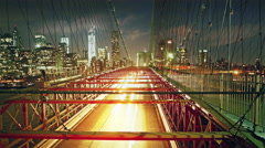 Brooklyn bridge traffic at night, time lapse - stock footage