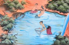 Stock Photo of Thai mural painting of traditional fishing method