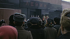 Moscow 1976: people waiting in front of Lenin Mausoleum Stock Footage