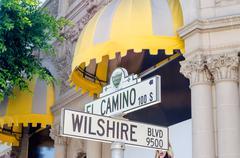 Wilshire Boulevard Sign, Beverly HIlls - stock photo